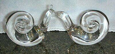 2 Signed Steuben Crystal Snail Paperweights Figurine Hand Cooler Paperweight
