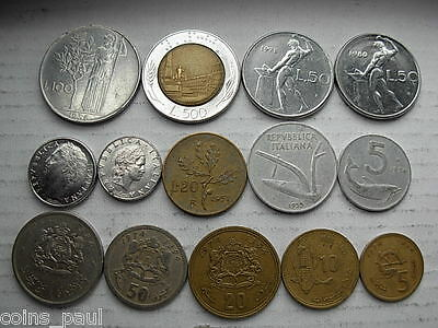 Italie - Morocco ( Italy 100 lira 1956  rare  ) plus others 14 coins  Lot AA5-7