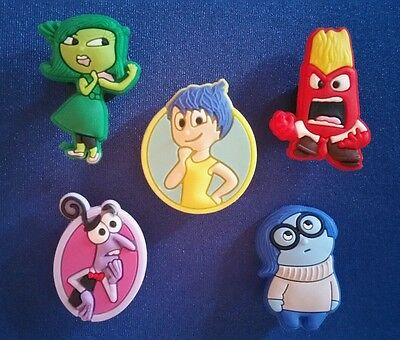 5 Pc Inside Out  Joy Anger Fear Sadness Shoe Charms Jibbitz Cake Party Favors
