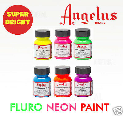 FLURO ACRYLIC PAINT FOR LEATHER & SYNTHETIC - Boots-Shoes-Bags- Craft 6 Colors