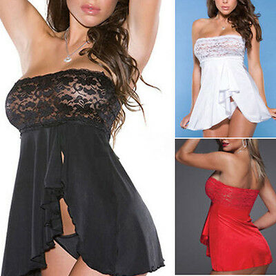 Sexy Women Lace Plus Size Dress Lingerie Underwear Nightwear Sleepwear +G-string