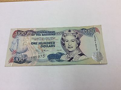Bahamas 2000 P67 $100 Note Qeii Condition:ef #973 Best Price On Ebay!