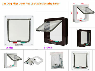 Pet Safety ABS Cat Dog Lockable Gate Flap Door Brown White for Big Medium Small