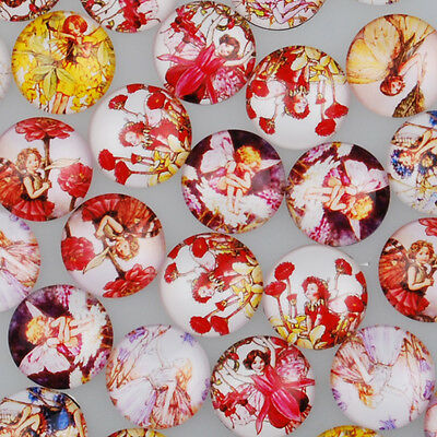 Mixed Dome Flatback Butterfly Fairy Pattern Glass Cabochons DIY Crafts