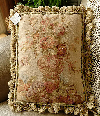 "16"" Fabuluous Rose Bouquet In Pottery Urn Beautiful Whole Petit Point Pillow"