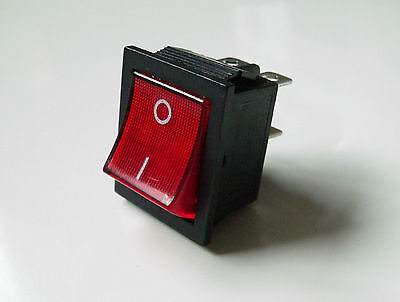 Red Neon Rocker Mains Power Switch for Guitar Amplifier Marshall DPST two pole
