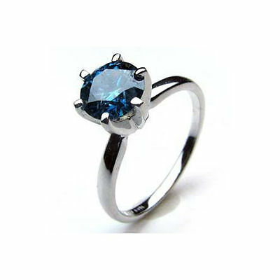 0.60TCW Certified Real Natural Blue Solitaire Round Diamond Ring 14k White Gold