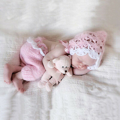 Pink Newborn Baby Girls Boys Crochet Knit Costume Photo Photography Prop Outfits