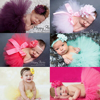 Newborn Baby Girl Pearl Flower Headband + Tutu Skirt Set Birthday Photo Props