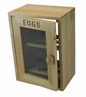 12 Egg Holder Wooden 2 Tier Chicken Cupboard Cabinet Kitchen Storage Rack Tray