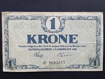 Denmark 1 One Krone P12a Scarce Prefix C 8093057 Dated 1918 Fine+