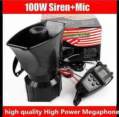 AAA100W Car Siren Horn PA System Loud Megaphone+ Mic For Motorcycle RV Truck US