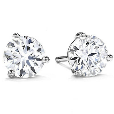 .50Ct Round Brilliant Cut Natural Diamond Stud Earrings 14K Gold Push Back Marti