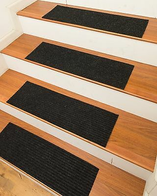 Non Slip Carpet Stair Treads 13 Modern Set w Peel and Stick Strips Rug 9x29""