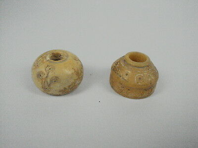 Ancient Shell/Bone 2 Spindles Whorl/Beads Roman 200 BC