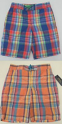 Polo Ralph Lauren Boy's Plaid Swim Trunks Shorts Small Pony Mesh Liner Swimming