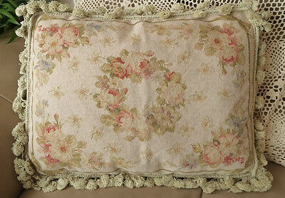 "21"" So Stunning Rose Floral Garland Shabby French Country Vtg Needlepoint Pillow"