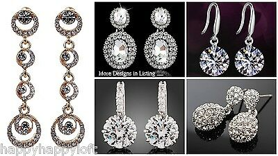 Stunning CRYSTAL Drop Stud Fashion Bridal Bride Wedding Earrings LOTS OF DESIGNS