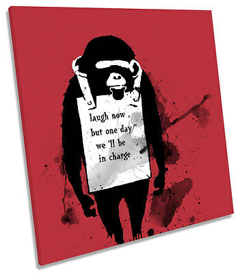 Banksy Laugh Now Monkey SQUARE CANVAS WALL ART Print Picture