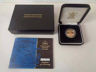 2001 Gold Proof Sovereign - Original Box and COA