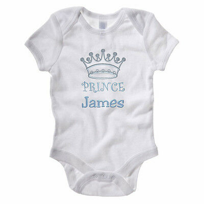 PERSONALISED PRINCE - Embroidered Gift Idea / New Born / Christening Baby Grow