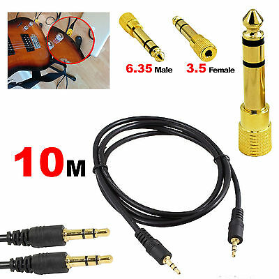 10M 3.5mm Male Stereo Audio Cable+ 6.35mm Jack Electric Guitar Connector Adapter