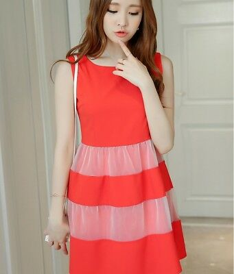 ee3da5964c Casual 2018 Summer Korean Style Sleeveless Organza Spliced Sweet Skirt Dress