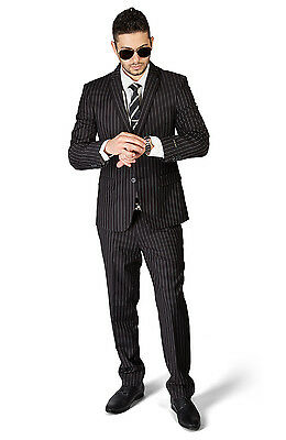 Slim Fit Pinstripe Black Men Suit 2 Button Notch Lapel Fitted No Pleat 1688 AZAR