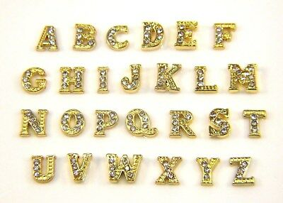 Floating Mini Charms A-Z Letter Initial Living Memory Locket Necklace Gold 8mm