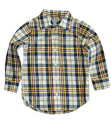 Baby Gap toddler boys button front cotton plaid long sleeve dress shirt 2 NWT