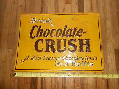 Vintage Scarce CHOCOLATE CRUSH Tin Embossed Soda Advertising Sign