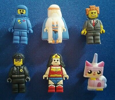 6 Pc Lego Movie Mini Crocs Jibbitz Shoe Charms Party Favors Toppers Wristbands