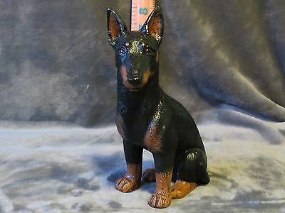 Doberman Pinscher Plaster Dog Statue Hand Cast & Painted By T.c. Schoch