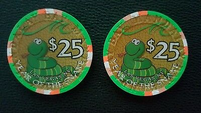 mandalay bay las vegas chinese new year of the snake  $25 casino chip unc