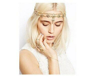 Fashion Metal Rhinestone Head Chain Headband Pearl Flower Pendant Hair band AG