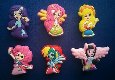 New 6 Pc My Little Pony Equestria Girls Jibbitz Shoe Charms Toppers Party Favors