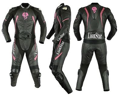 1 & 2 piece LionStar Ladies Motorbike Leather Suit with CE Approved Protector