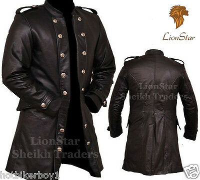 Men's Real Leather Steampunk Gothic Matrix Black / Victorian Long Trench Coat