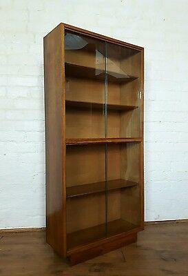 Vtg 50s 60s Mid Century Oak School Bookcase Display Cabinet Shelving Shelves