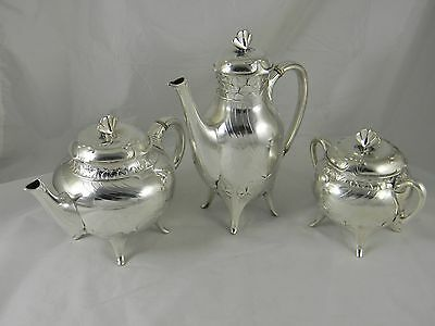 Art Nouveau Silver Plated Tea Coffee Pots Sugar Gallia Christofle France 1908