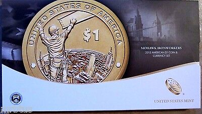 2015 W Native American $1 Coin and Currency Set Enhanced Finish Sacagawea 911