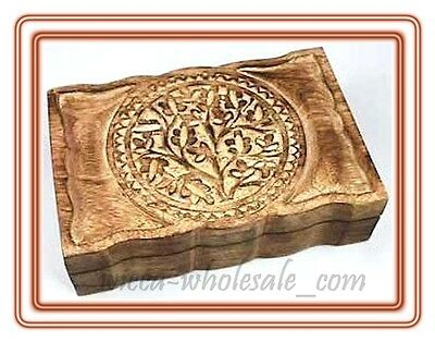 "HUGE Tarot Box Tree of Life Wood Wicca Pagan 6"" X 9"" inchs FREE SHIPPING JEWERLY"