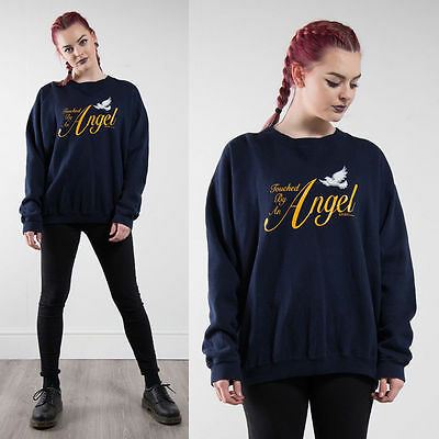 Vintage 90's Touched By An Angel Slogan Navy Blue Sweatshirt Jumper Sweater 16
