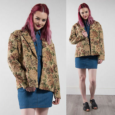 Vintage Floral Patterned Tapestry Blazer Jacket Beige Country Casual Cute 18