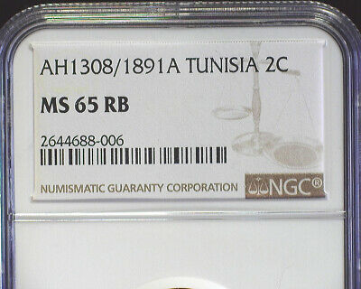 Tunisia Ah1308/1891A 2 Centimes (Km#220) Ngc Ms 65 Rb