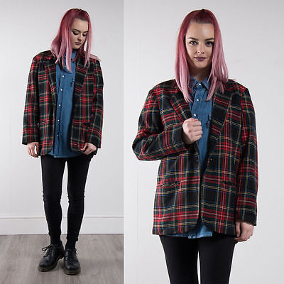 Vintage Red Tartan Check Plaid Blazer Jacket Oversize 90's Clueless Nineties 14