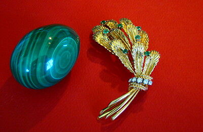 Cartier 18kt Yellow Gold, Emerald & Diamond Pin Brooch - Rare, Exceptional!