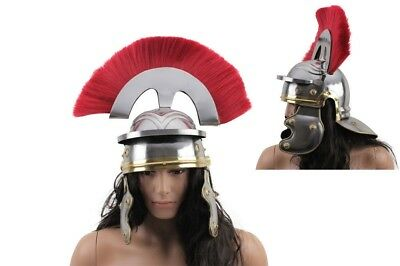 ADULT SIZE Imperial Roman Helmet W/brass Accents and Red Plume - Steel NIB