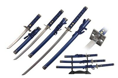 3 Pcs Samurai Sword Set Blue Scabbard with Square Guard and Display Stand NIB