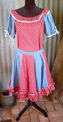 Vintage Red White and Blue Square Dance Blouse and Skirt